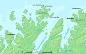 Мыс Нордкап на карте